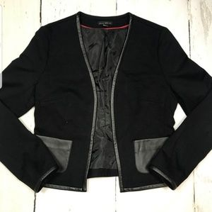 Willi Smith viscose & faux leather trim blazer